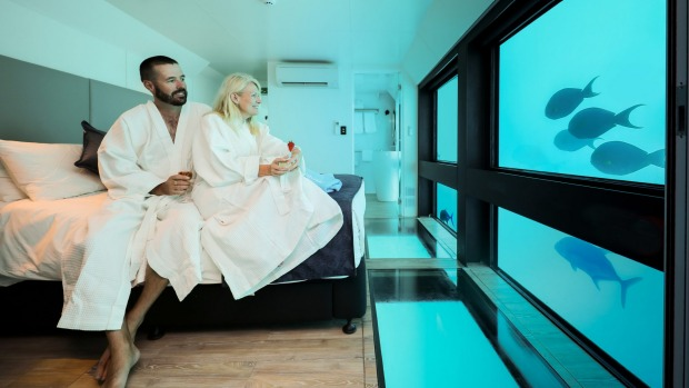 The suites are four metres underwater.