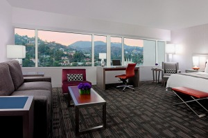 A jumior suite with views of Hollywood.