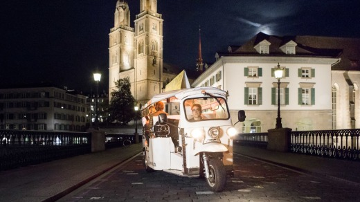 The Fondue-Tuk tour is a rebuff to the stereotype of the Swiss as serious, safety-first types.