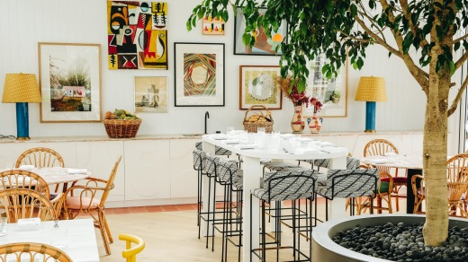 ARC Dining's contemporary setting features a wall of art and a fig tree.