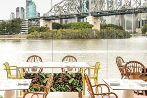 Riverside views from ARC Dining and Wine Bar at Howard Smith Wharves.