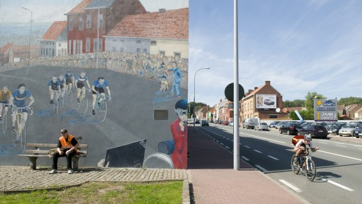 A roadside mural depicts a moment in the 1988 World Championships.