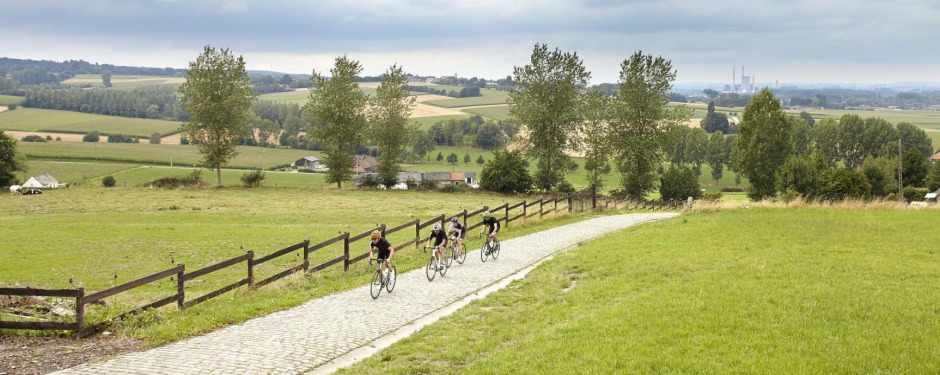 Bicycle riders take on a climb near Oudenaarde.