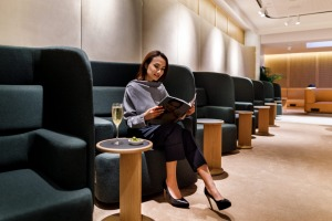 Relaxing inside Qantas' new First Lounge at Changi Airport.