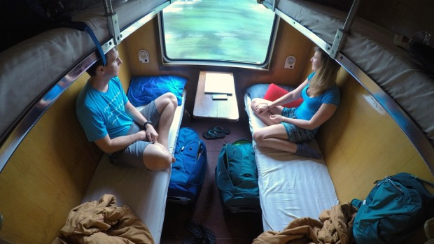 A sleeper train travels through Vietnam.