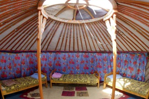Tourist ger accommodation at Ereen Lake, Mongolia.