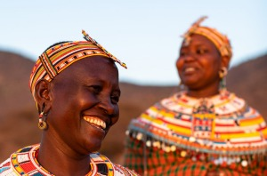 The Samburu and Maasai are closely linked, and both are famous for their highly decorative and colourful attire.