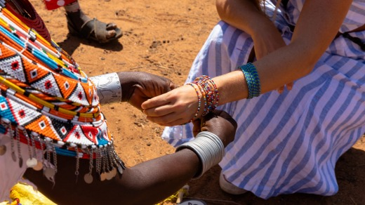 Selling handmade jewellery is a primary source of income for many Kenyan women.