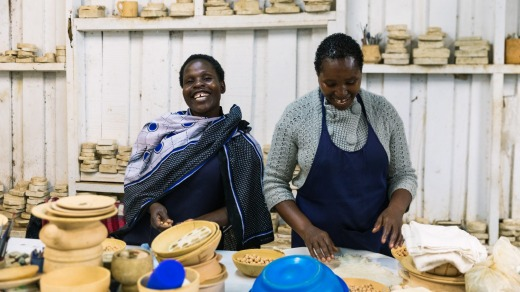 The Kazuri bead factory in Nairobi employs over 340 women, mostly single mothers.