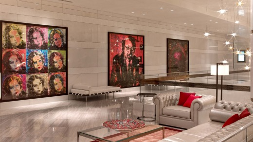 The hotel's generously-proportioned public areas are festooned with a large collection of contemporary art.