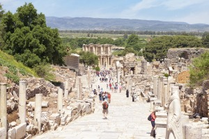 Main street and library of Ephesus, Turkey.