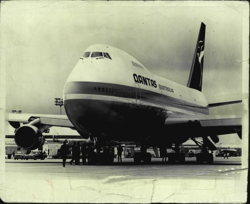 """FAREWELL TO THE QANTAS JUMBO: The first Qantas Boeing 747 jumbo jet in 1971. The original caption in The Age read: """"This ..."""