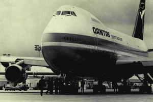 The first Qantas 747 jumbo jet. The airline announced the immediate retirement of its remaining jumbos last week.