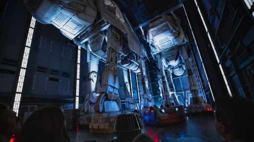 Guests will board trackless vehicles that twist and turn throughout the hallways of a Star Destroyer, even under or ...