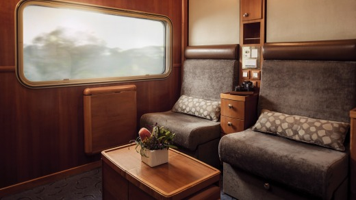 The train's top-tier compartments feature fold-down double beds (lounges by day) and relatively luxurious bathrooms with ...