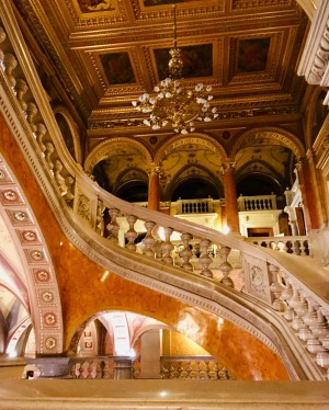 The ornate staircase inside the Hungarian State Opera House.