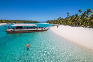 The Cook Islands (pictured), Fiji and Vanuatu could be part of a 'trans-Pacific bubble', allowing Australian tourists to ...