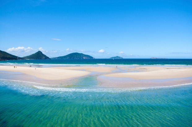 View of Fingal Spit looking towards Mount Tomaree, Port Stephens.
