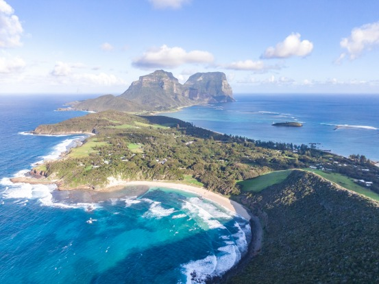 Ned's Beach, in the foreground of Lord Howe Island, NSW.