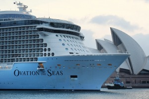 Cruise giant Ovation of the Seas, owned by Royal Caribbean, during a visit to Sydney in December.