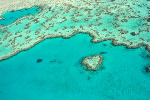 The Great Barrier Reef and Heart Reef in Queensland's Whitsundays Region.