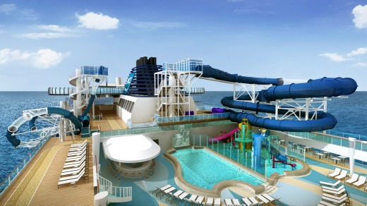 The main pool deck onboard.
