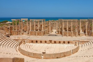The Theater at the spectacular ruins of Leptis Magna near Al Khums, Libya iStock image for Traveller. Re-use permitted. ...