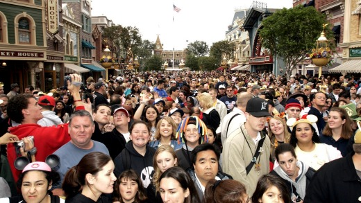 Disneyland stops selling tickets when it reaches capacity.