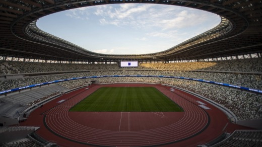 Vew of the New National Stadium, the main stadium of Tokyo 2020 Olympics and Paralympics/