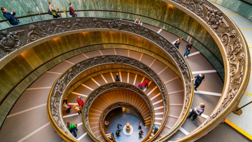 The modern Bramante Staircase in a museum in Vatican. It's not open on Sundays.