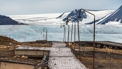The strange Russian settlement of Pyramiden in Norway's Svalvard. No additional caption information.