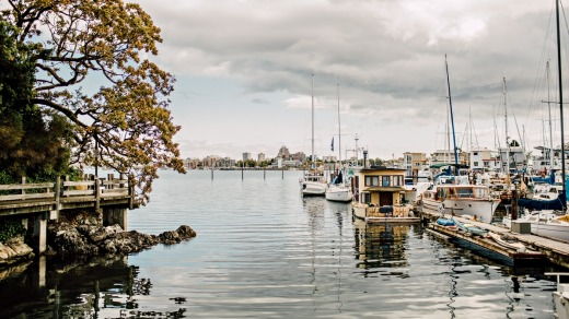 Inner Harbour and marina in Victoria, British Columbia.