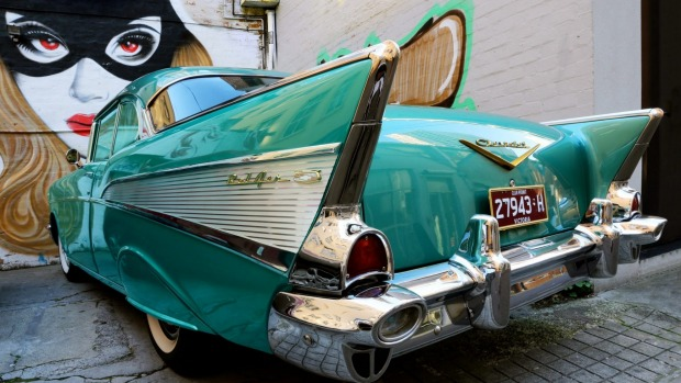 Lucille is a 1957 Chevrolet Sport Coupe, a two-tone aqua beauty..