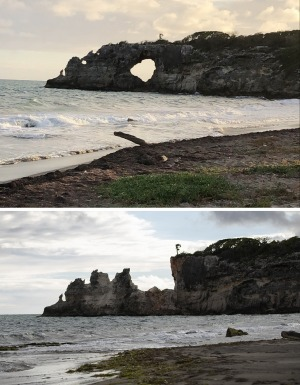 """This combo of two photos shows """"Punta Ventana,"""" or Window Point, in Guayanilla, Puerto Rico on January 27, 2019, top, ..."""