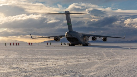 The arrival of the C17 marks the start of the summer Antarctic season in Christchurch. Seen here at Phoenix Air Field on ...