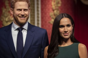 The figures of Britain's Prince Harry and Meghan, Duchess of Sussex.