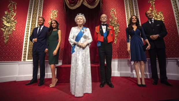 Madame Tussauds' Royal Family display before the removal.