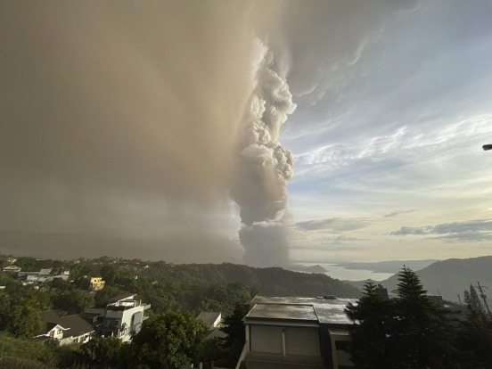Taal's ash plume was clearly visible from the city of Tagaytay, a well-frequented viewing spot for the volcano.