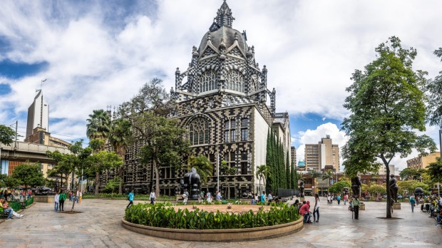 Botero Square and the Palace of Culture in Medellin.