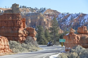 Driving into Red Canyon in Dixie National Forest near Panguitch, Utah.
