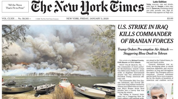 Australia's bushfire crisis has received extensive coverage in the New York Times, including as the main photo on page one.