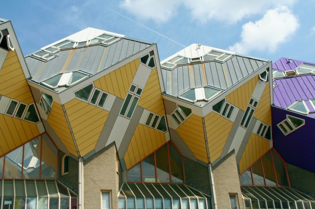 Piet Blom: Where? Rotterdam, Netherlands: Piet Blom is notorious for his Cube Houses, which might not seem especially ...