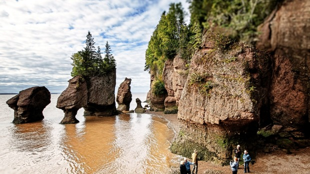 Hopewell Rocks and Lovers Arch in New Brunswick.