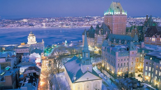 Old Quebec at night in winter.