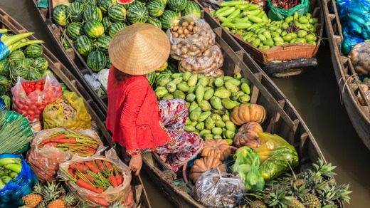 A Vietnamese woman selling fruits at a floating market, Mekong River Delta.