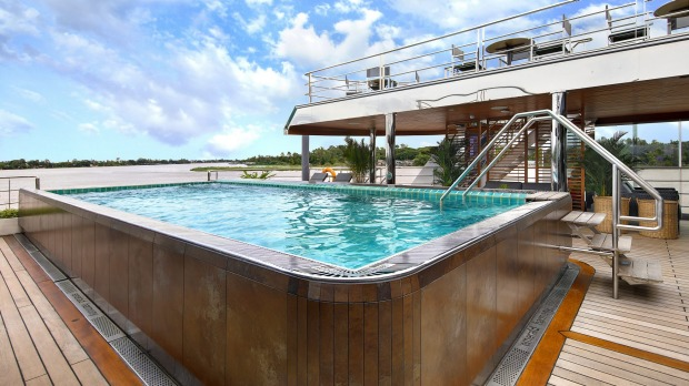 The pool deck onboard the luxurious Emerald Harmony.