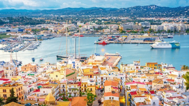 Elevated view over Ibiza Town and harbour.