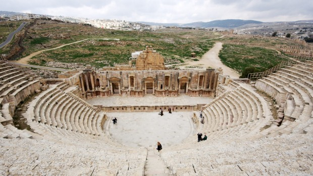 The amphitheatre in the Roman city Jerash in Jordan.