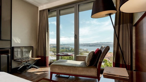 A deluxe Bosphorus view room.