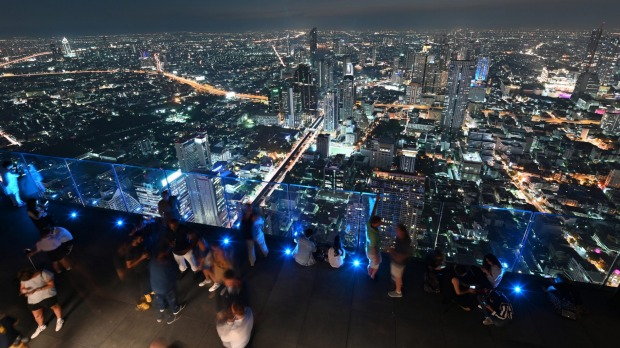 Panoramic views from the 78th floor of the King Power Mahanakhon building.